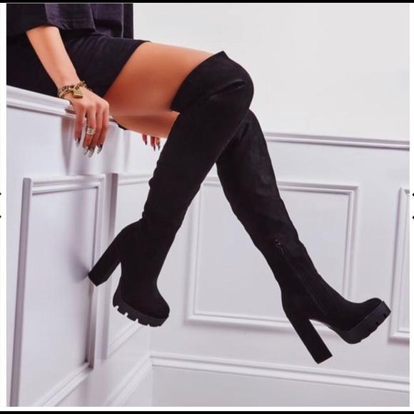 black suede platform knee high boots